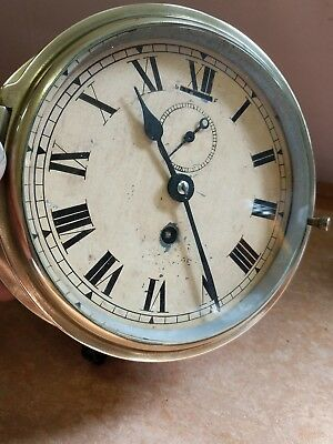 Large Vintage Brass Ships Clock with key.