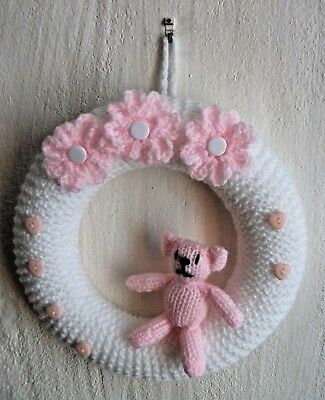 Hand Knitted Cute Pink & White New Baby Girl Wreath / Wall Decoration Gift