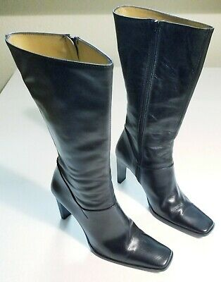 88bd59904af CHARLES DAVID Womens size 8 M Black Leather Knee High Heel Zippered Boots  Italy