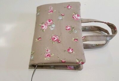 Book  Bag, Bible Cover, Rosebud Fabric with wooden beaded bookmark