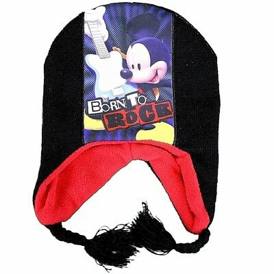 Disney Mickey Mouse Born To Rock Infantil Niño Sombrero Negro & Mitones Set Sz.