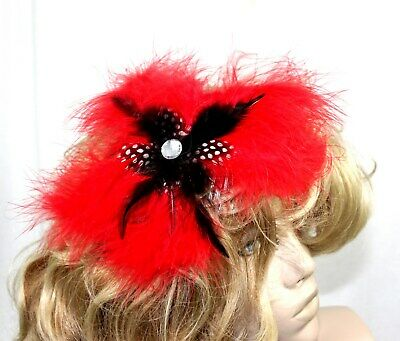 Large Red all feather Fasinator mounted on a comb more colours in our store