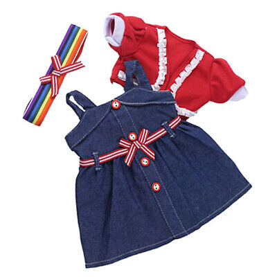 Fashion Jean Skirt Coat Hairband For AG American Doll 18 inch Doll Clothes