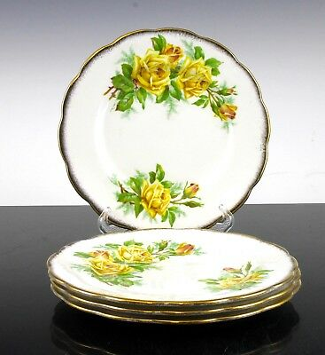 "V Nice Royal Albert Tea Rose Yellow Pattern Set Of 4 Side Plates 7 1/4"" England"