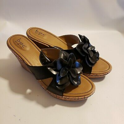 f2a943232ea216 B.O.C. Born Concept Women s Sandals Black with Flower Leather Upper Cork  Size 11