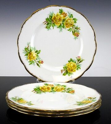 Very Nice Royal Albert Tea Rose Yellow Pattern Set Of 4 Luncheon Plates England