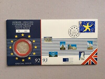 Royal Mint/Royal Mail 1992-1993 EU Presidency Silver Proof 50p Coin Cover no.293