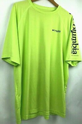 e4d47fa1979 COLUMBIA SPORTSWEAR PFG (PERFORMANCE FISHING GEAR) T-SHIRT ADULT L neon  green