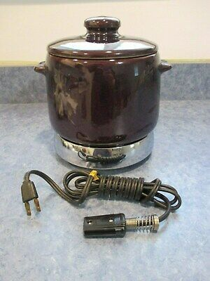 Vintage West Bend Bean Pot With Lid Warmer And Cord Works