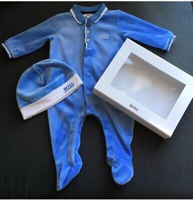 a104143b96455 Hugo Boss baby boys velour babygrow and hat 3m (0-3 months) in