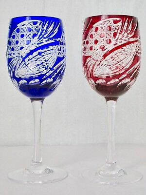 Antique Bohemian Ruby Red and Cobalt Blue Pair of Wine Glasses