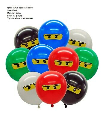 "10PCS 12"" LEGO Ninjago Kids Latex Balloons Birthday Party Decoration Gift Bag"