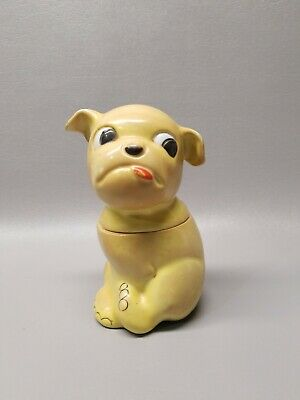 """Antique Germany puppy dog lidded container tobacco jar 6"""" Bonzo Humidor"""