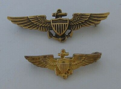 c4fb3c7e177 Pair of Vintage WW2 US Navy Pilot Gold Fill Wings Pin - Balfour - HH