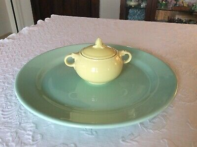 "Vintage 1942 Luray Pastels 14"" Mint Green Chop Plate Platter & Yellow Sugar Bowl"