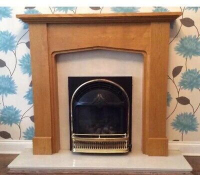 Wooden Fireplace Surround Marble Hearth And Backplate Gas