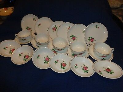 22- Pieces  Of Vintage China  Beautiful Roses ~ Paden City Pottery Co.~Gold Trim