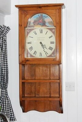 Stunning Solid Pine Antique Style Wall Clock Battery Operated And Working Order