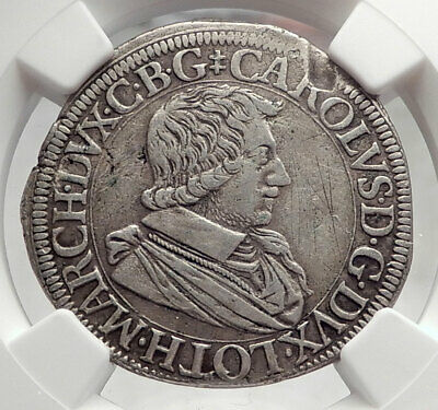1627 FRANCE TESTON Lorraine Duke Charles IV OLD Silver French Coin NGC i62175