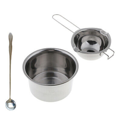 3/set Stainless Steel Candle Wax Melting Pot Double Boiler&Long Handle Spoon