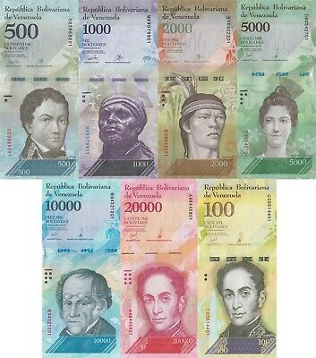 Venezuela 7 Note Set: 500 to 100000 Bolivares F. (2016/2017) - p94-100-New UNC