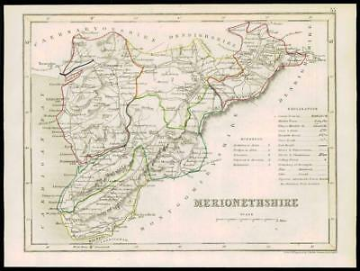 Antique County Map Wales 1893 Old Plan Chart Merionethshire