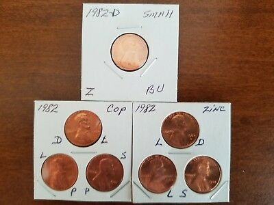 1982 P&d Lincoln Cent 7 Coin Set ~ Copper/zinc ~ Large & Small Dates (Bu) In 2X2