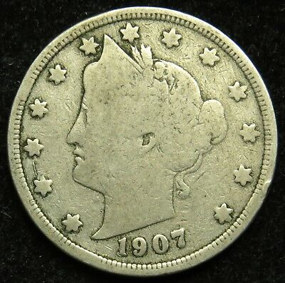 1907 Liberty Barber V Nickel G Good (B01)
