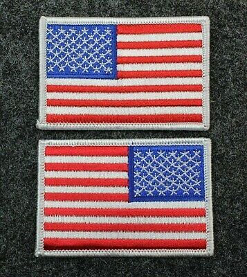 US American Flag Patch Red White Blue - White Border Sew On / Iron On