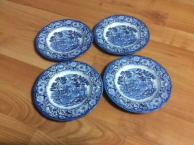 """4 Liberty Blue China 5.75"""" Bread/Butter Plates Staffordshire England Monticello."""