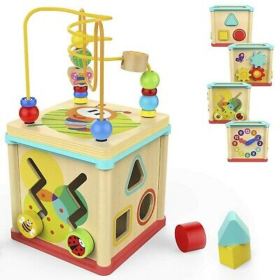 Activity Cube Baby Educational Wooden Bead Maze Shape Sorter Toy for Toddlers