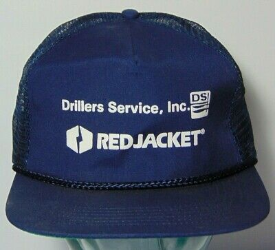 Vtg 1980s DSI Drillers Service Water Well Red Jacket SNAPBACK TRUCKER HAT CAP