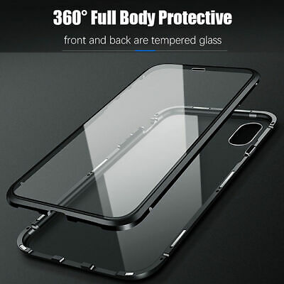For iPhone XS MAX XR 360° Magnetic Adsorption Front+Back Temper Glass Case Cover