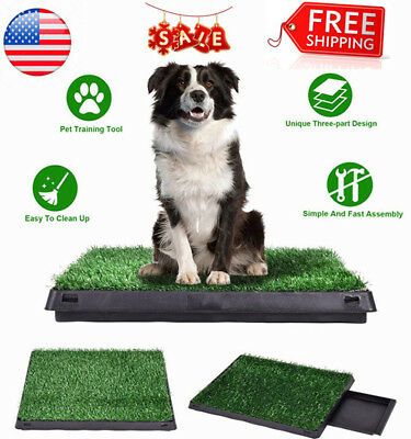 Indoor Outdoor Puppy Training Grass Potty Dog Toilet Trainer Pee Pad Mat Tray US