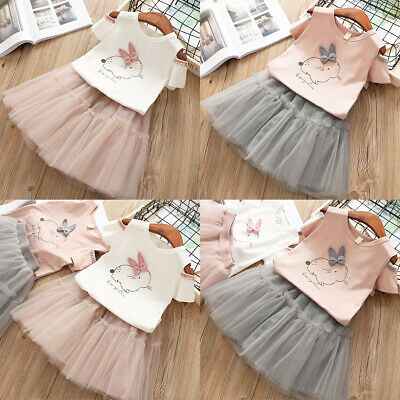 Toddler Kid Baby Girl Easter Rabbit Tops T-shirt Tutu Skirt Dress Outfit Clothes