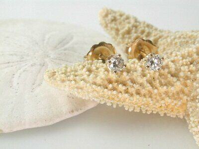 1 Ct Round Cut Diamond Solitaire Stud Earrings In Solid 14K Yellow Gold Finish