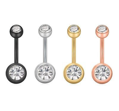 Navel Belly Bar Ring Double Crystal Button Body Piercing Jewelry Surgical Steel