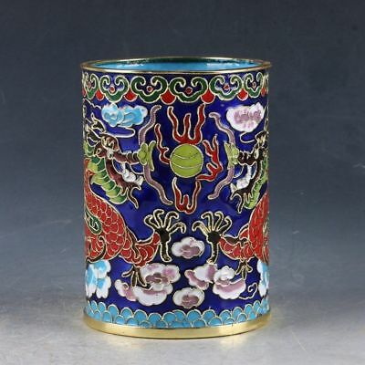 China Cloisonne Enamel Brass Two dragons are playing with a pearl Pen Holder