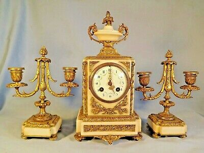 19c French Ormolu/Marble Garniture Set C1880.