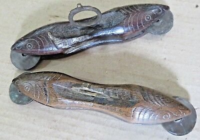 Antique Music Instrument carved FISH SHAPED Holy percussion finger cymbals 2x S