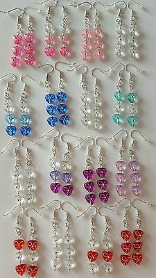 New Handmade Job Lot 16 Pairs of Acrylic Triangle Beaded Dangle Drop Earrings