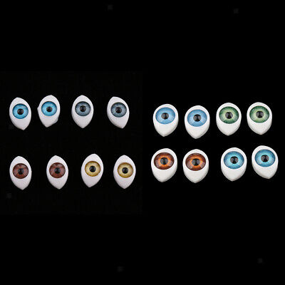 8pcs 4-Colors 6mm Oval Hollow Back Plastic Eyes For Dollfie Doll Mask DIY