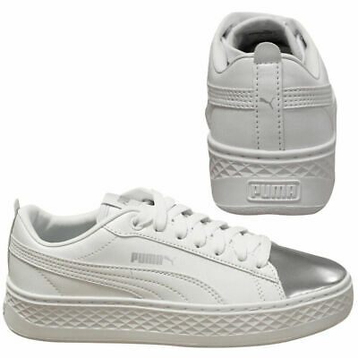 PUMA SMASH PLATFORM LX White Silver Lace Up Womens Lo Top