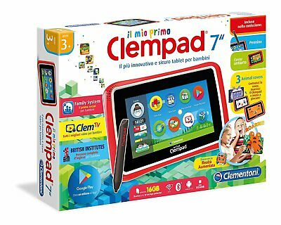 "16602 Clementoni Il Mio Primo Clempad 7"" Touch Wifi Bt Android +3 Anni New"