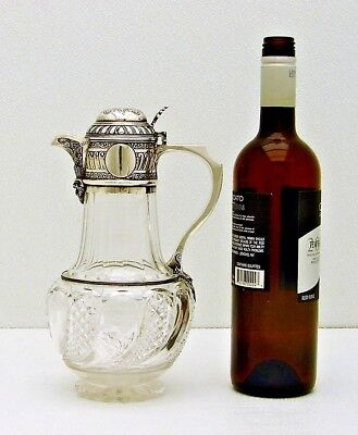 English Sterling Silver and Cut Glass Claret Pitcher Jug with Hallmarks C.E 1884
