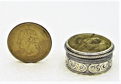 Solid Silver Pill or Snuff Box with Glass Top Austria 1881 13 loth