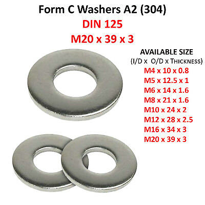 20mm M20 FORM A FLAT WASHERS A2 304 STAINLESS STEEL WASHER DIN 125
