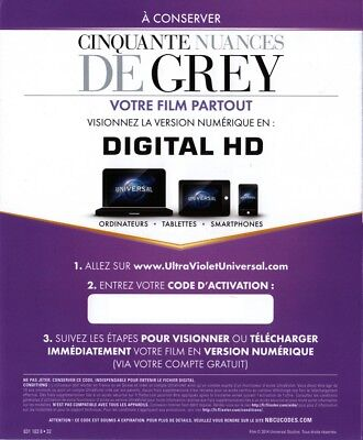 CINQUANTE NUANCES DE GREY CODE DIGITAL HD  (no DVD Lire l'annonce )