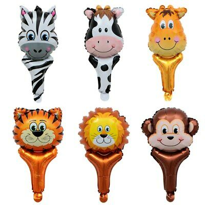 Jungle Animal Head Foil Balloons Hand Held Air-Fill Stick Wild Clapper Party Kid