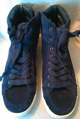 b0f21f6c28e94f Sam Edelman Britt Space Navy Blue Suede Women s High Top Lace Up Sneakers  ...